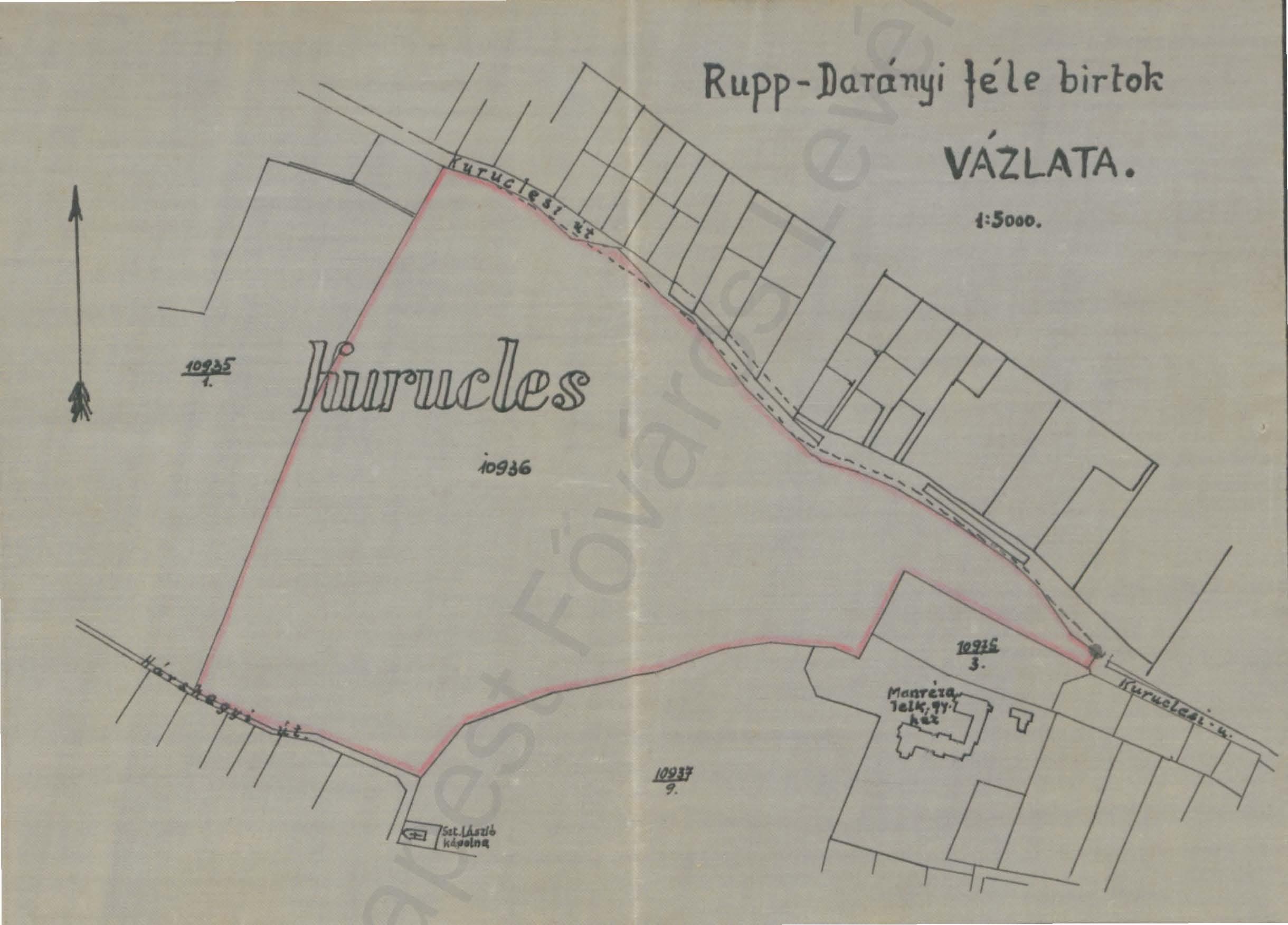 2. kép. A Kuruclesen a székesfőváros birtokában lévő terület vázlatrajza 1945-ből (HU BFL IV.1409.c XI. 1256/1945)