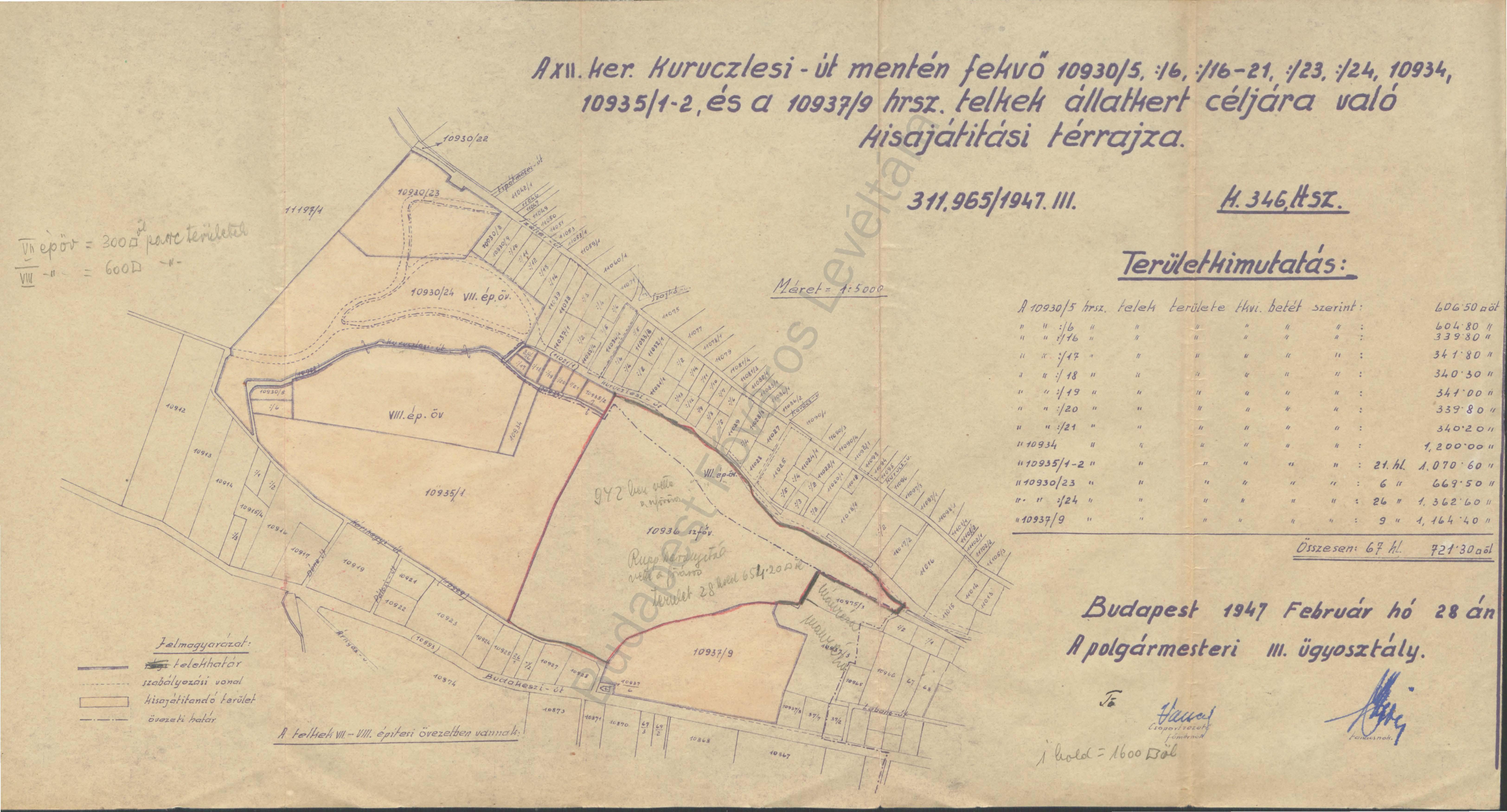 3. kép. Az új állatkert helyének szánt terület részletes térrajza 1947-ben (HU BFL IV.1409.c XI. 1256/1945)
