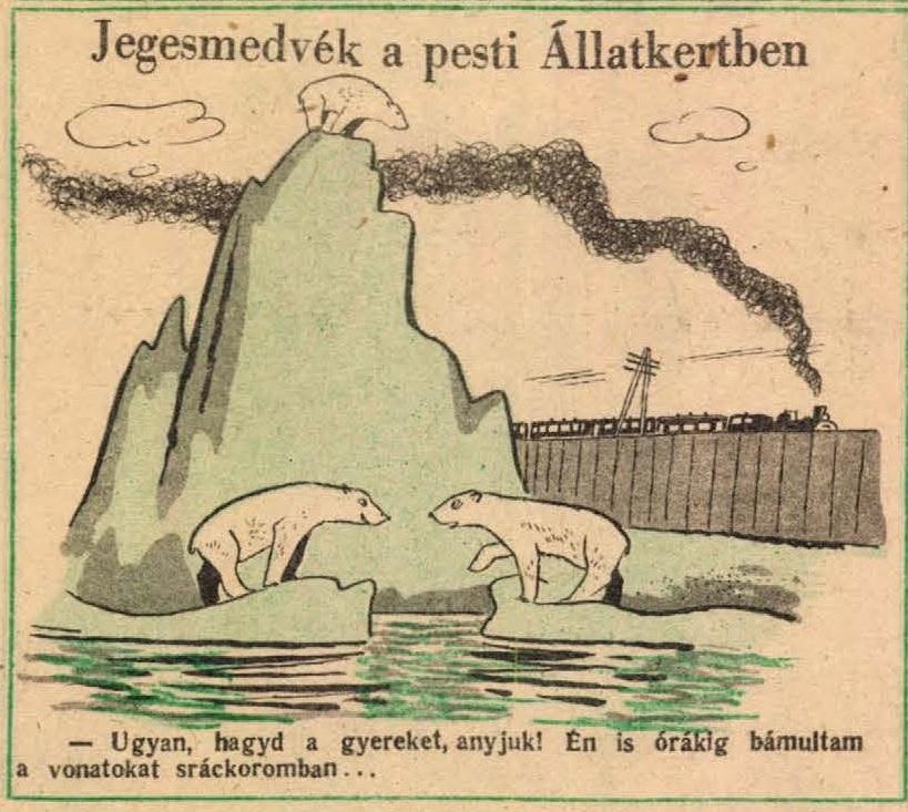 4. kép. Jegesmedvék a pesti Állatkertben: Az állatkert nyugalmát 155 éve zavarja a közeli vasútforgalom (Ludas Matyi, 6. (1950) 42. sz. 6. p.)
